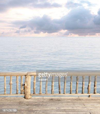 Beautiful terrace view of seaside at the resort : Stock Photo