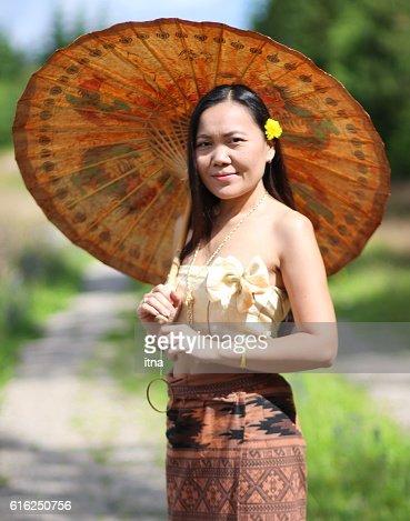 Beautiful Thai woman in Thai traditional costume : Stock Photo