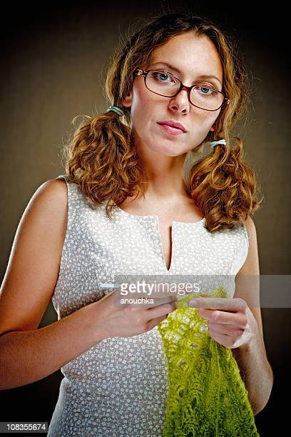 Beautiful Thirty Years Old Woman Crocheting
