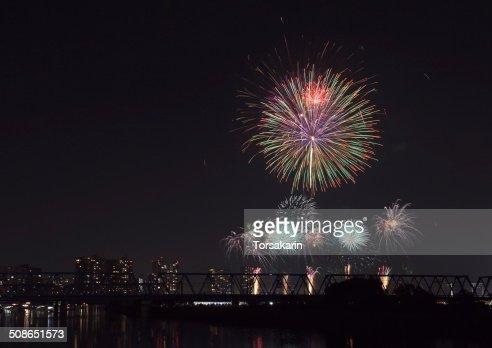 Beautiful Tokyo firework from Tokyo Odaiba area : Stock Photo