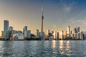 Panorama of Toronto skyline at sunset in Ontario, Canada.
