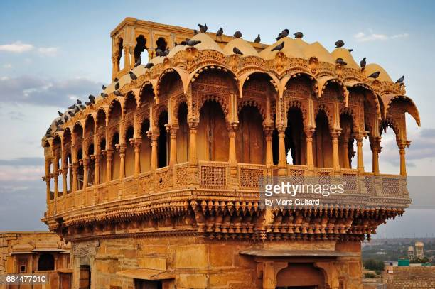 A beautiful tower on a building just outside Jaisalmer Fort, Jaisalmer, Rajasthan, India