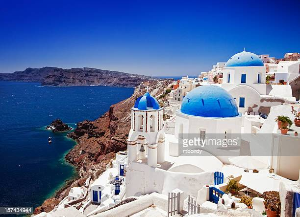 Beautiful travel destination Oia (Ia) village on Santorini island, Greece