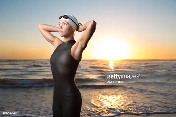 Beautiful Triathlon Athlete at sunrise