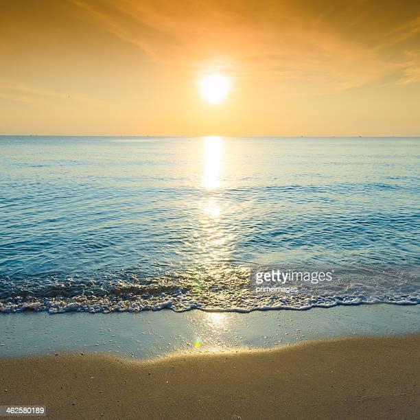 Beautiful tropical sand beach against the blue sky.