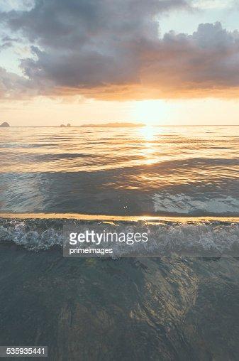 Beautiful tropical sand beach against the blue sky. : Stock Photo