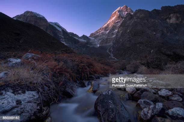 Beautiful twilight at Thagnag village, Mera peak expedition, Everest region, Nepal