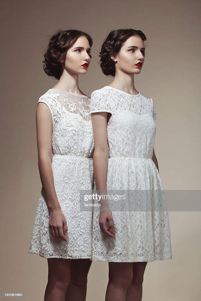 Teenage Twins in Cocktail Dresses