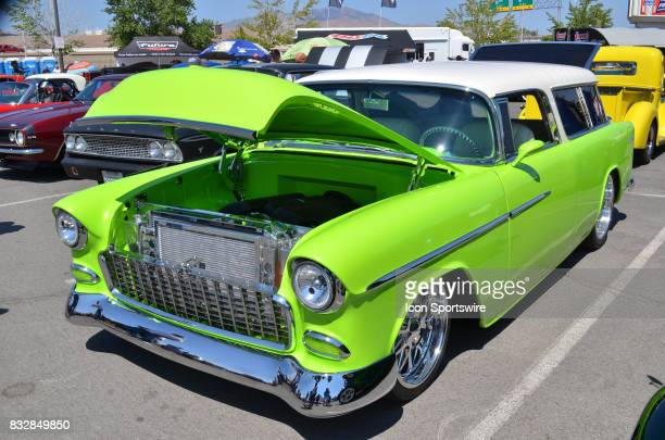 Beautiful two tone paint scheme on the 1955 Chevy Nomad at the Hot August Nights Custom Car Show the largest nostalgic car show in the world on...