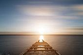 Beautiful sunset landscape image of Fleet Lagoon in Dorset England