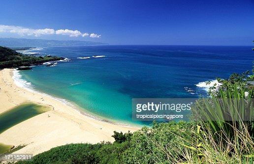 Beautiful view at North Shore Waimea Bay in Oahu, Hawaii