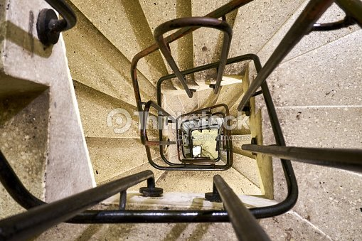 Beautiful View From Above On An Old Staircase With Handrails In The