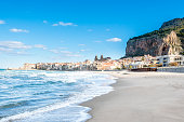 Beautiful view of Cefalu beach. Sicily. Italy