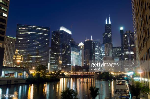 A beautiful view of Chicago Loop at night