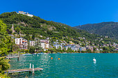 Beautiful view of  Geneva lake from Montreux city on a sunny summer day, Canton of Vaud, Switzerland