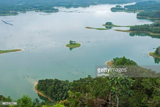Beautiful view of Koto Panjang lake surrounded by green forest from Ulu Kasok peak on October 14 2017 at Kampar District Riau Province Indonesia