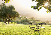 Beautiful view of lawn with empty table and chairs