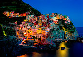 Beautiful view of Manarola at night