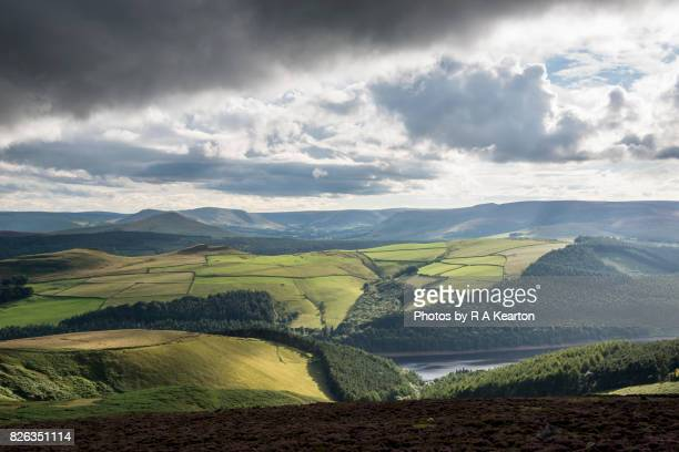 Beautiful view of Peak District hills after a rain shower