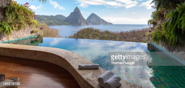 Beautiful view of St. Lucias Twin Pitons from Jade Mountain