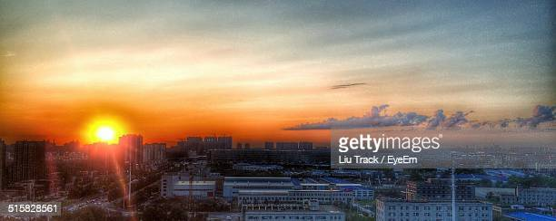 Beautiful View Of Sunset Over City