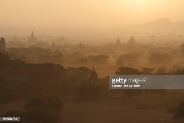 Beautiful view of the pagodas in the plains of Bagan, Mandalay Region, Myanmar