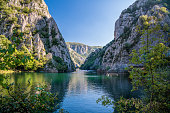 Beautiful view of tourist attraction, lake at Matka Canyon in the Skopje surroundings. Macedonia.