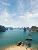 Beautiful View Of Tourist Boats In Halong Bay, Vietnam