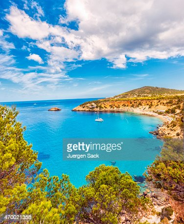 Beautiful view on Cala D'hort on Ibiza