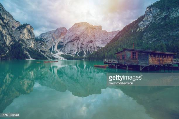 Beautiful view on Lago di Braies in South Tyrol, Italy, Europe