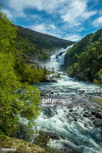 Beautiful waterfall in Kinsarvik, Norway
