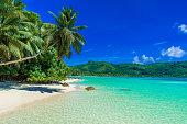 Anse a La Mouche - Paradise bay with beach on the tropical island Mahe, Seychelles