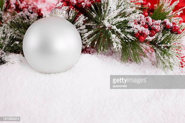 Beautiful White Christmas Ornament in Snow, Copy Space