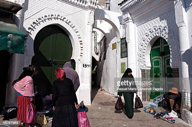 Beautiful white houses in the market area of the medina