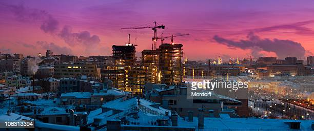 Beautiful winter cityscape at sunset. Panoramic view