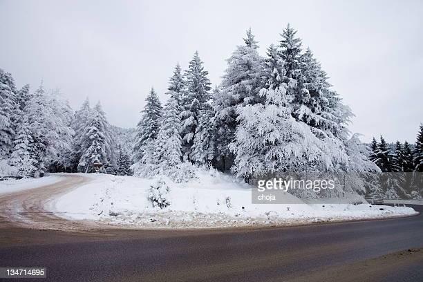 Belle hiver colors.road à la montagne Rogla, la Slovénie