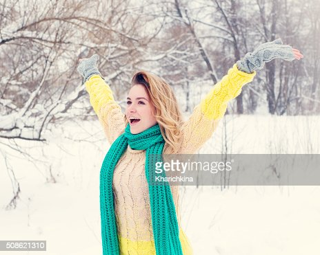 Beautiful winter portrait of young woman : Stock Photo