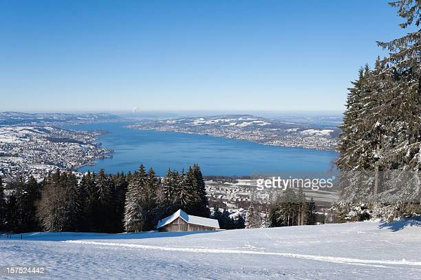 Beautiful Winterday, perfect Mountain View all over Lake of Zurich