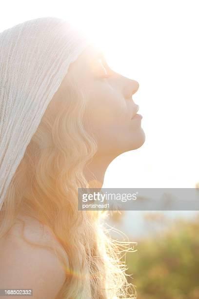 beautiful woman and sunbeams