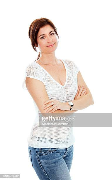 Beautiful woman arms crossed in casual Summer clothes