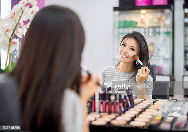 Beautiful woman at a makeup store
