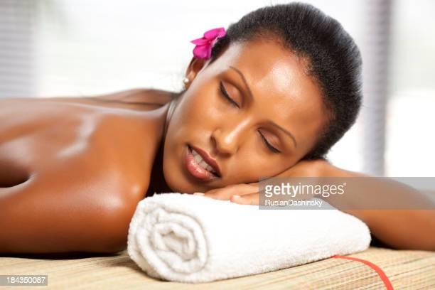 Beautiful woman at spa waiting for massage.