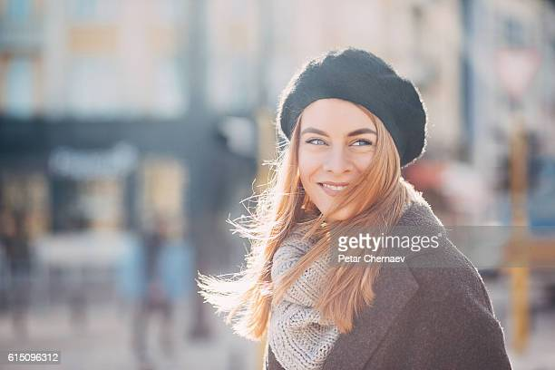Beautiful woman at sunlight