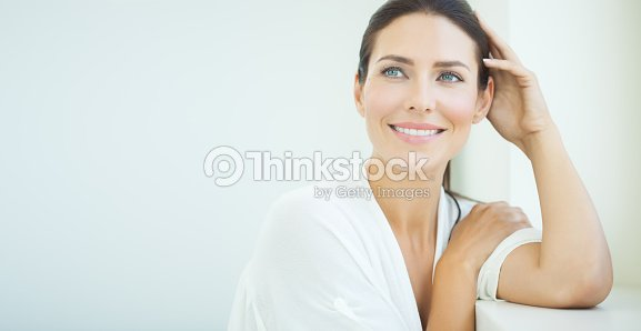 Beautiful Woman At Window : Stock Photo