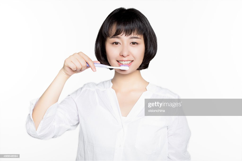 beautiful woman clean mouth