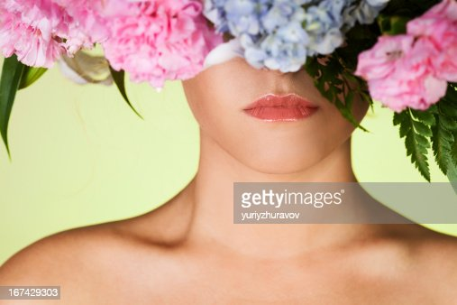 Beautiful woman close-up portrait and flower wreath : Stock Photo