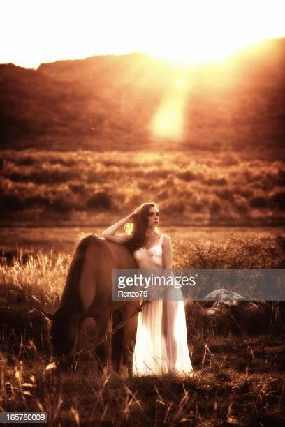 Beautiful woman embracing an horse against sunlight