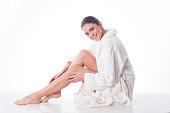 Cozy day in cozy white bath robe.