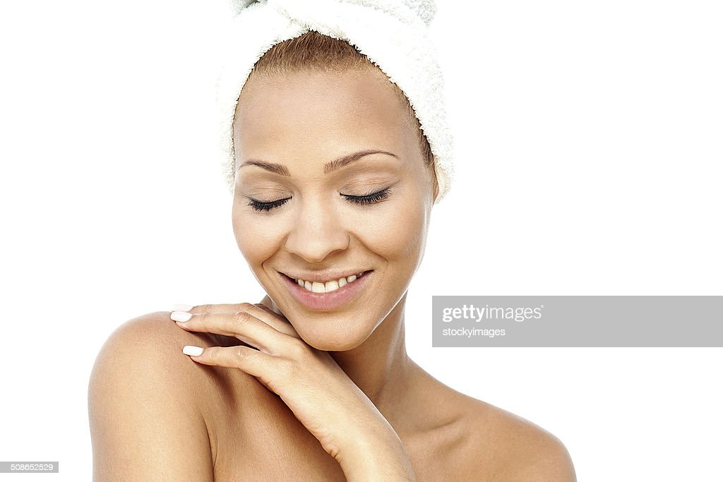 Beautiful woman face on white background : Stock Photo