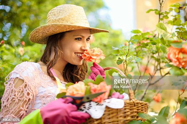 Beautiful woman gardening